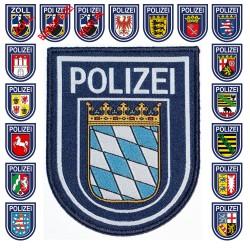 Klettabzeichen Behörden-/Landeswappen, blau - Textil (92 x 75 mm)