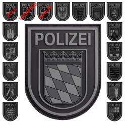 Klettabzeichen Polizei -BUNDESLAND - gummiert (90 x 72 mm)