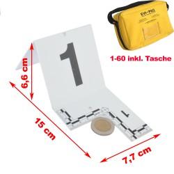 EVI-PAQ® nummerierte Marker mit Maßstab und Ausschnitt, 60er Set, inkl. Tasche