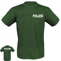 T-Shirt mit Druck POLIZEI in weißer Schrift