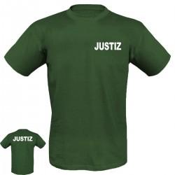 T-Shirt mit Druck JUSTIZ in weißer Schrift